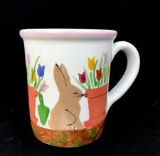 Starbucks Coffee Company Hand Painted Easter Bunny Rabbit Flower Mug 4 5/8""