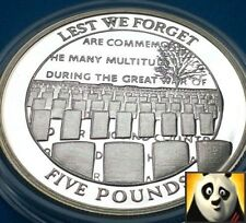 2008 GIBRALTAR £5 FIVE POUND COIN FIRST WORLD WAR CEMETERY SILVER PROOF + COA