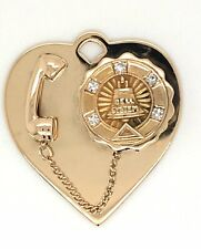 Vintage 14 K Yellow Gold And Diamond Bell Telephone Movable Charm