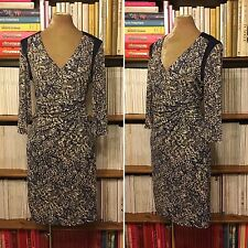M&S Autograph print ruched dress UK 12 /US 8 fitted sheath pencil draped office