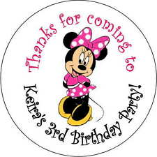 Minnie Mouse pink stickers Birthday Party 2.5 Inch Personalized Loot Bag sticker