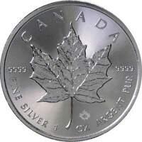 2018 Canadian Maple Leaf $5 BU Brilliant Uncirculated 1 oz .9999 Silver Coin