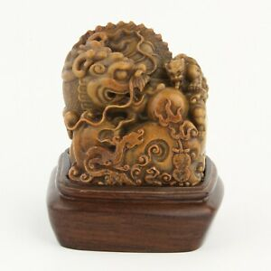 Antique Chinese Collection Carving Shoushan Stone Dragon Statue Seal