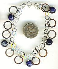"925 Sterling Silver Blue Gemstone & Round Circle Charm Bracelet 7.1/4""  184mm"
