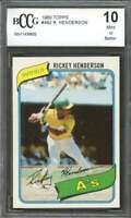1980 topps #482 RICKEY HENDERSON athletics rookie (50-50 CENTERED) BGS BCCG 10