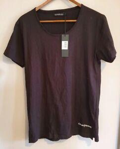 Cesare Paciotti Men's Size L (front across 47cm approx) Black T shirt Logo BNWT