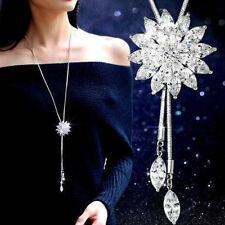 Fashion Women Lady Silver Chain Crystal Rhinestone Pendant Necklace Jewelry Gift