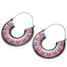 Boucles d'oreilles anneaux créoles ethnique plaqué argent bleu orange bijou A1