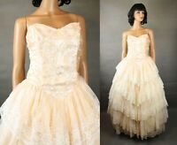 80s Prom Gown Sz S Vintage Pale Peach Satin White Lace Strapless Wedding Gown