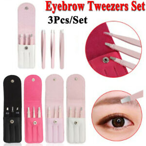 Tweezers Set 3-Piece Professional Stainless Steel Eyebrow Hair Pluckers + Case