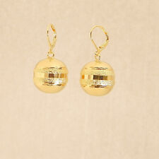 Pair of Earrings Gold plated 14k Chapa de oro 14k Bola