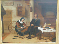"""Antique Dutch Old Master Painting Quirijn Van Brekelenkam or School of  """"Spinner"""