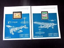 Aircraft Stamps,(53) in Crys Mt on Page with Description & Bio of English/French