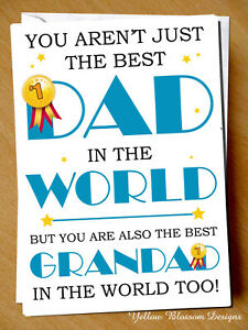 Grandad Birthday Fathers Day Greetings Card Cute Love Grandchild Best Dad World