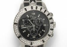 New Authentic Christian Dior Christal Diamond Dial Ceramic Strap Watch FN9592