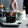 1 Pair Clear Glass Mug W Handle 450ml Milk Cereal Coffee Tea Beer Couple Gift