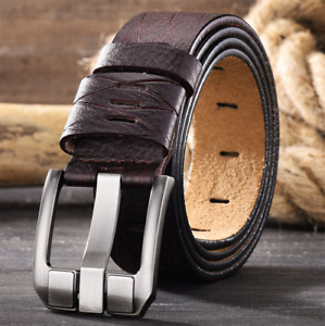 Charm Men Genuine Leather Belt Retro Casual Pin Buckle Waistband Belts Strap NEW