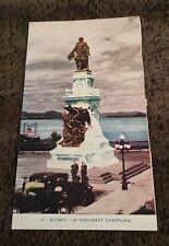 Vintage Postcard Unposted Le Monument Champlain Quebec Canada