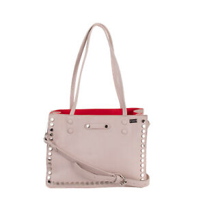 RRP €200 TSD12 RESEARCH Tote Bag Grainy Panel Studded Detachable Strap Zipped