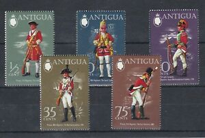 set of 5 mint Military Uniform stamps from Antigua