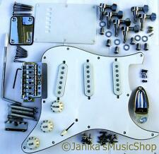 Stratocaster style guitar chrome parts pickguard machine heads bridge pickups