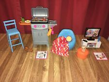 2 Barbie Furniture & Accessories Playsets: Movie Night & Backyard BBQ *Complete*
