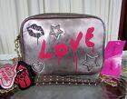 Betsey Johnson Kitsch Graffiti Love Crossbody Goth Punk Bag Pewter Metallic NWT