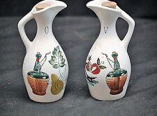 Old Vintage Oil & Vinegar Bottle Jar Set w Cork Tops Kitchen Tool Decor