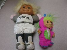 "Troll Doll 9"" Russ Plush Soft Body giants outfit, 4.5"" troll with barnie outfit"