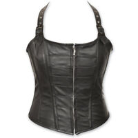 NWT VANCE LEATHERS LADIES ZIP FRONT HALTER BLACK LEATHER CORSET VEST SIZE S