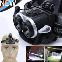 10000Lm 2x Core T6 LED USB Rechargeable Zoomable 18650 Headlamp Headlight Torch
