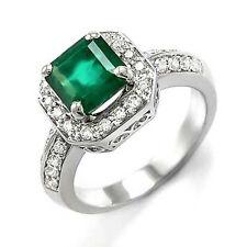 DIAMOND EMERALD ANNIVERSARY RING 18K WHITE GOLD