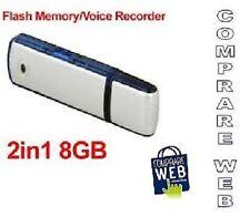 REGISTRATORE VOCALE AUDIO 8GB SPIA CIMICE SPY PENDRIVE VOICE RECORDER Mini Micro