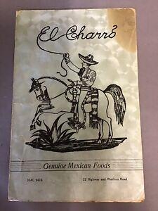 Vintage  1950's El Charro Menu Ft. Smith Arkansas