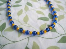 15 1/2 Inch BLUE Glass and YELLOW Crystal SILVER Spacer Necklace CHOKER G-77