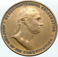 1937 USA Adoption of CONSTITUTION 150Yr PRESIDENT GEORGE WASHINGTON Medal i88329