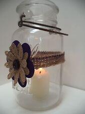 6 Mason Jar Plum Purple Fabric & Burlap Rustic Wedding Candle  Decorations AU31