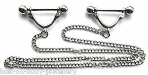 Pair of Nipple Bars with Linking chain - Surgical Steel Body Jewellery