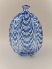 """Gino Cenedese Murano 1984 Signed Blue Wave Glass Vase MURANO VETRI - 8"""" x 5-1/2"""""""