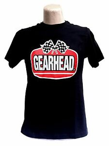 Gearhead Brand Logo T Shirt Hot Rods Retro Checkered Flags Motorsports Greaser