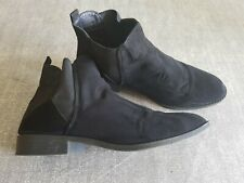 Atmosphere size 7 (40/41) black faux suede elastic side panel Chelsea ankle boot