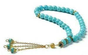Islamic tasbeeh 33 bead turquoise/gold prayer bead tasbih islam beads misbaha uk