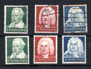 Germany 1935 Composers Anniversaries mint MH set & used #573-575 WS14614