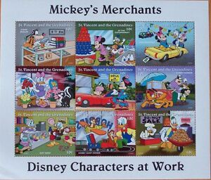 DISNEY- MICKEY'S MERCHANTS - 9 STAMP MINT SHEET.