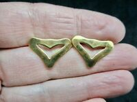 Vintage-Valentine's Day MONET Stylized Gold Tone Pierced Earrings