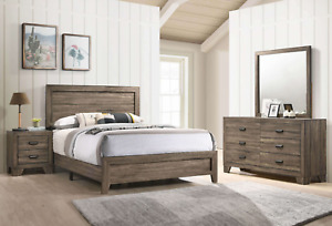 NEW 4PC Rustic Brown Queen King Twin Full Bedroom Set Modern Furniture Bed/D/M/N