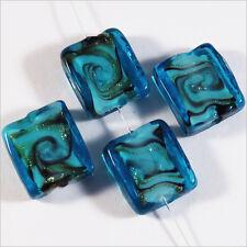 Lot de 4 perles en verres Lampwork Murano Rectangles 14x16 mm Bleu Turquoise