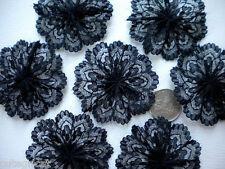 20pc BLACK Lace Rosettes (4cm)-  Bows Appliques/Craft/Wedding Decoration