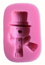 Snowman with hat and scarf  Pink Silicone Mold for GP Fondant Craft Chocolate