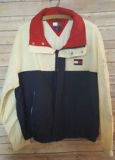 Vintage 90s Tommy Hilfiger Medium Windbreaker Jacket Big Logo Hidden Hood Red G